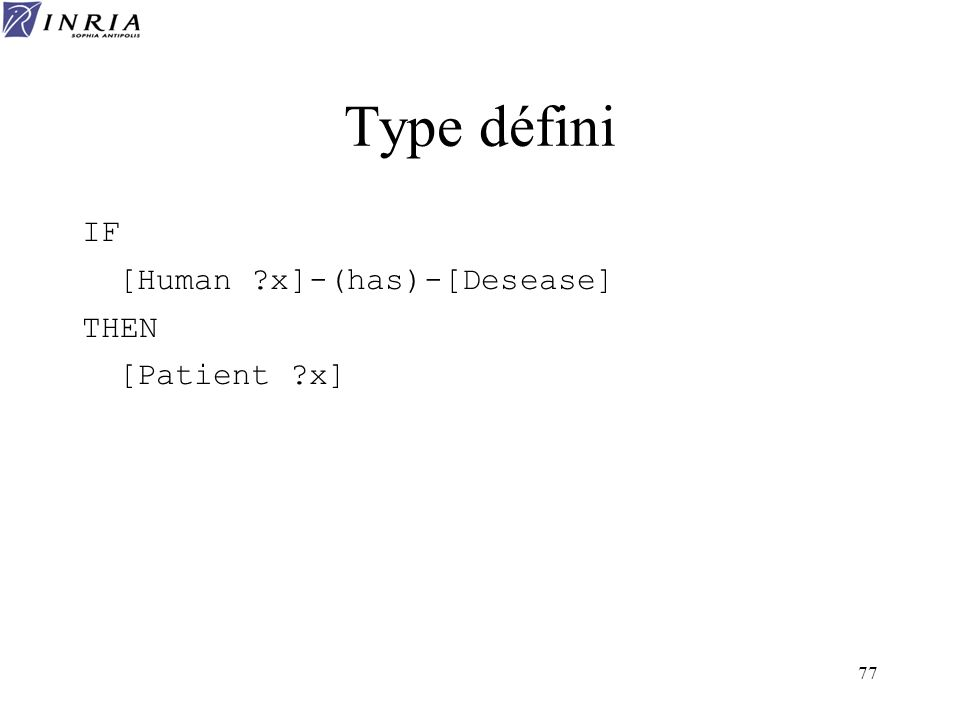 Type défini IF [Human x]-(has)-[Desease] THEN [Patient x]